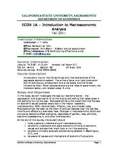 ECON 1A Introduction to Macroeconomic Analysis Fall 2011