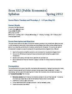 Econ 322 (Public Economics) Syllabus Spring 2012