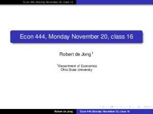 Econ 444, Monday November 20, class 16