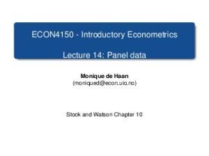 ECON Introductory Econometrics. Lecture 14: Panel data