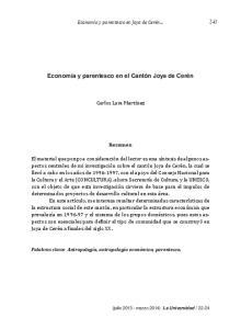 Economía y parentesco en el Cantón Joya de Cerén