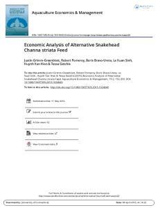 Economic Analysis of Alternative Snakehead Channa striata Feed
