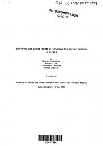 Economic and Social Rights of Refugees and Asylum Seekers