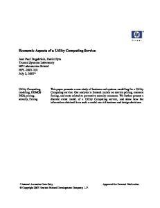Economic Aspects of a Utility Computing Service