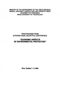 ECONOMIC ASPECTS OF ENVIRONMENTAL PROTECTION