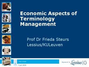 Economic Aspects of Terminology Management