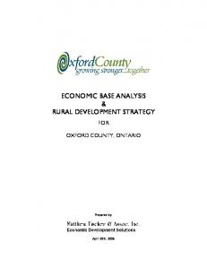 ECONOMIC BASE ANALYSIS & RURAL DEVELOPMENT STRATEGY