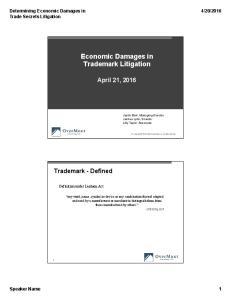 Economic Damages in Trademark Litigation