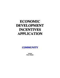 ECONOMIC DEVELOPMENT INCENTIVES APPLICATION