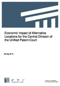 Economic Impact of Alternative Locations for the Central Division of the Unified Patent Court