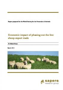 Economic impact of phasing out the live sheep export trade