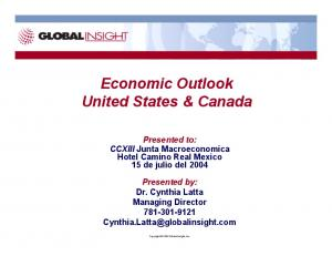 Economic Outlook United States & Canada