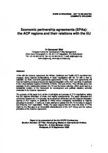 Economic partnership agreements (EPAs): the ACP regions and their relations with the EU