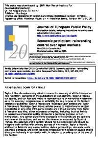 Economic patriotism: reinventing control over open markets Ben Clift & Cornelia Woll Published online: 08 Feb 2012