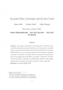 Economic Policy Uncertainty and the Euro Crisis