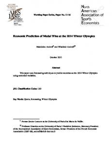 Economic Prediction of Medal Wins at the 2014 Winter Olympics