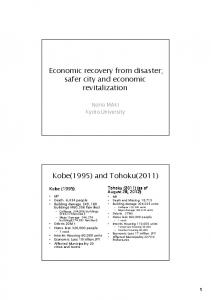 Economic recovery from disaster; safer city and economic revitalization