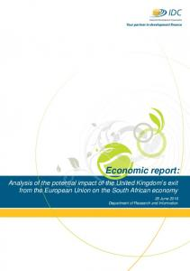 Economic report: Analysis of the potential impact of the United Kingdom s exit from the European Union on the South African economy