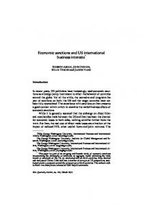 Economic sanctions and US international business interests *