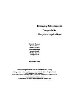 Economic Situation and Prospects for Maryland Agriculture