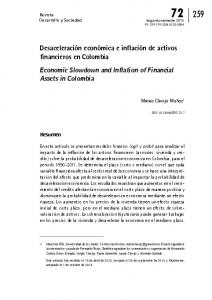 Economic Slowdown and Inflation of Financial Assets in Colombia