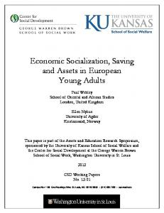Economic Socialization, Saving and Assets in European Young Adults
