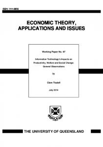 ECONOMIC THEORY, APPLICATIONS AND ISSUES