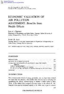 ECONOMIC VALUATION OF AIR POLLUTION ABATEMENT: Benefits from Health Effects