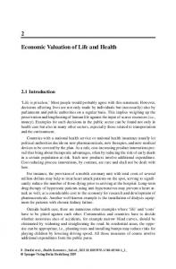 Economic Valuation of Life and Health