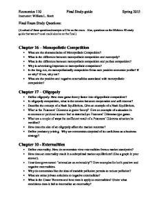 Economics 110 Final Study-guide Spring 2015