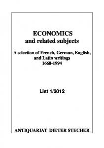 ECONOMICS and related subjects