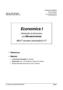 Economics I. Introduction to Economics, and Microeconomics