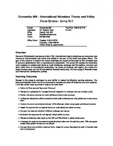 Economics International Monetary Theory and Policy Course Syllabus - Spring 2012