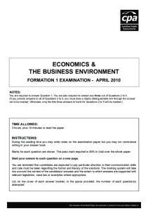 ECONOMICS & THE BUSINESS ENVIRONMENT