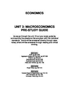 ECONOMICS UNIT 3: MACROECONOMICS PRE-STUDY GUIDE