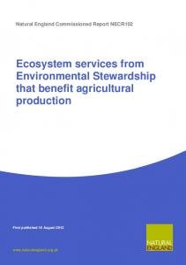 Ecosystem services from Environmental Stewardship that benefit agricultural production