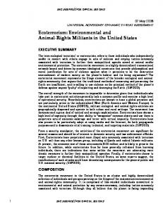 Ecoterrorism: Environmental and Animal-Rights Militants in the United States