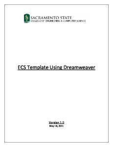 ECS Template Using Dreamweaver
