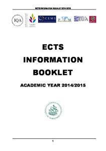 ECTS INFORMATION BOOKLET ECTS INFORMATION BOOKLET