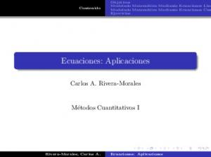 Ecuaciones: Aplicaciones