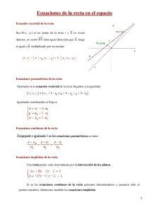 Ecuaciones de la recta en el espacio