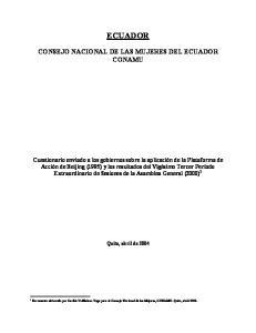 ECUADOR CONSEJO NACIONAL DE LAS MUJERES DEL ECUADOR CONAMU