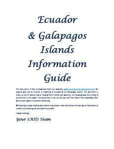 Ecuador & Galapagos Islands Information Guide