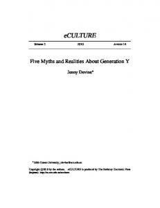 eculture Five Myths and Realities About Generation Y Jenny Devine Volume Article 14 Edith Cowan University,