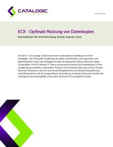 ECX - Optimale Nutzung von Datenkopien