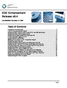 EDC Enhancement Release v6.4