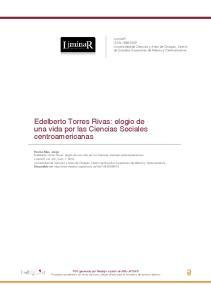 Edelberto Torres Rivas: elogio de una vida por las Ciencias Sociales centroamericanas