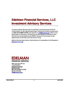 Edelman Financial Services, LLC Investment Advisory Services