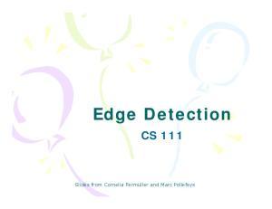 Edge Detection CS 111