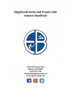 Edgebrook Swim and Tennis Club Summer Handbook